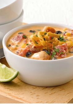 Santa Fe Chicken Enchilada Stew – Warm up with this enchilada-inspired Southwestern stew, made with chicken, veggies, and beans in a creamy broth, topped with the perfect amount of crunch!