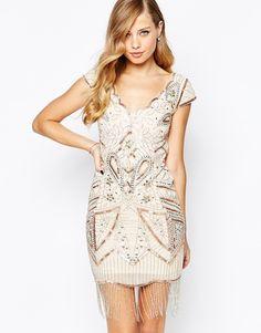 Frock and Frill All Over Embellished Tassel Hem Flapper Dress
