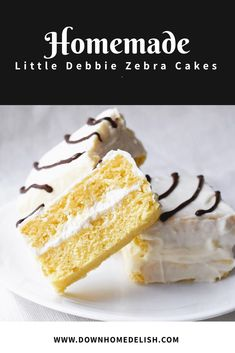 A homemade version of the popular Little Debbie Zebra snack cake. Tasty yellow cake sandwiched together with a homemade light marshmallow cream filling and covered with a light layer of chocolate. Down-Home Delish - Preppy Kitchen preppykitc Little Debbie Zebra Cakes, Little Debbie Snack Cakes, Mini Desserts, Delicious Desserts, Dessert Recipes, Cake Recipes, Birthday Cakes For Teens, Teen Birthday, Cheetah Birthday