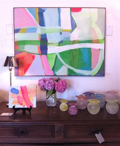Sally Benedict (art or interior design?) I saved this because I loved the bright abstract artwork. Art For Art Sake, Hanging Art, Large Art, Painting Inspiration, Diy Art, Bunt, Painting & Drawing, Collage, Art Decor