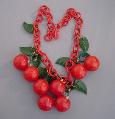 BAKELITE red carved cherries necklace
