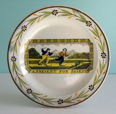 Fine Staffordshire Pearlware Child's Plate ~ A PRESENT for JOSEPH ~ c1820 NR