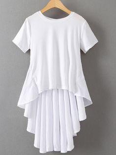 T-shirt trapèze plissé manche courte - blanc