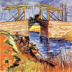 The Langlois Bridge at Arles -Artist: Vincent van Gogh Completion Date: 1888 Place of Creation: Arles, Bouches-du-Rhône, France Style: Japonism Genre: landscape Technique: oil Material: canvas Gallery: Private Collection Tags: rivers-and-waterfalls, boats-and-ships, handwork, bridges-and-canals