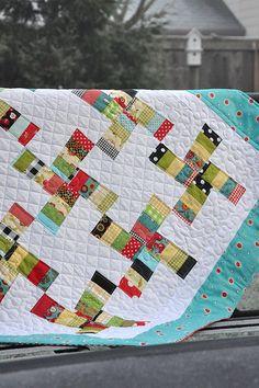 cute funky pinwheel quilt using scraps. 1.5 x 5