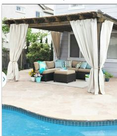 If we keep the pergola .pergola with outdoor canvas panels Outdoor Rooms, Outdoor Living, Outdoor Decor, Outside Living, Backyard Makeover, Interior Exterior, Interior Garden, Interior Design, Pool Landscaping