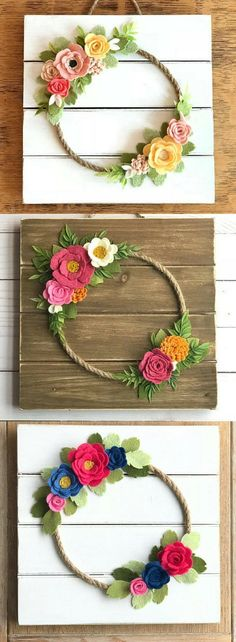 Felt floral wreath wall decor, Spring decor, floral shiplap style sign, farmhouse Nursery decor, Rustic Nursery wall art, boho nursery decor, home decor, gift idea, farmhouse sign, rustic sign #ad #springhomedecorations