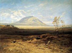 Julius Mařák - Říp (1881, NG v Praze) Oil On Canvas, Paintings, Mountains, Amazing, Garden, Nature, Travel, Beautiful, Art