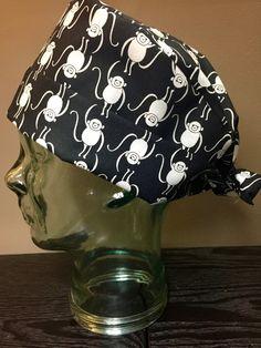 Black & White Monkey Surgical Scrub Hat, Women's Animal Pixie Tie Back Scrub Cap, Custom Caps Company by CustomCapsCompany on Etsy