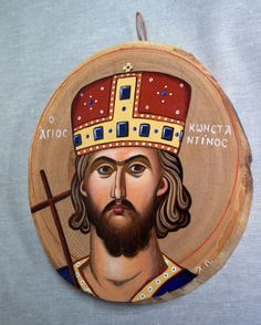 Saint Konstantinos, handpainted icon on chestnut wood. Dimensions 20 x 15 cm. Byzantine Icons, Tempera, Egg, Hand Painted, Canvas, Colors, Wood, Eggs, Tela
