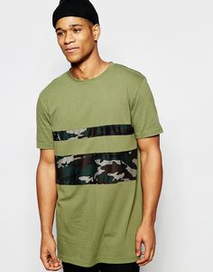 Seje Kubban Block Longline Camo Calibri T-Shirt - Green Kubban T-Shirts & Veste til Herrer i fantastisk kvalitet