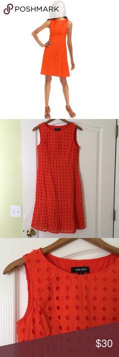 Nine West Sleeveless Eyelet Dress Bright and summery orange eyelet dress from Nine West. Nine West Dresses Midi