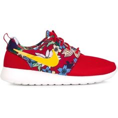 Nike Roshe One Sneakers ($105) ❤ liked on Polyvore featuring shoes, sneakers, red, round toe sneakers, floral sneakers, nike shoes, nike sneakers and red shoes