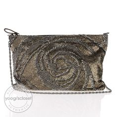 Valentino Sequin and Leather Rosette Clutch Evening Bag