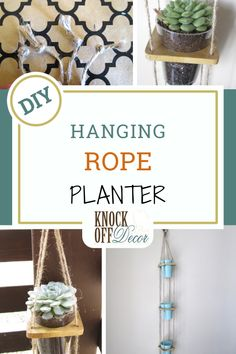Brittany from Confessions of a Secret Crafter has a little bit of an obsession with succulents and found a fun way to display them with this hanging planter.Brittany had the brilliant idea to use wood bangles to hold the pots.They already have a hole in the middle, so she only needed to drill holes at the corners to feed the rope through.Easy peasy!This is a fun way to add some green to your décor for spring and summer or maybe even create a hanging herb garden outside! Diy Garden Projects, Diy Furniture Projects, Diy Home Decor Projects, Diy Wood Projects, Decor Crafts, Decor Ideas, Craft Ideas, Hanging Rope, Diy Hanging