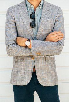 Blazer: Club Monaco, Shirt: Factory Chambray - J. Crew, Trousers: American Eagle Sunglasses: Kinney - Garrett Leight Watch: Stillwell in Chocolate - Jack Spade Sharp Dressed Man, Well Dressed Men, Fashion Moda, Mens Fashion, Fashion 2015, White Pocket Square, Classic Men, Plaid Blazer, Gray Blazer