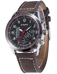AMPM24 Herren Armbanduhr Quarzuhr Analog Anzeige Dunkel Braune Leder Armband Sportuhr CUR095 - http://herrentaschenkaufen.de/ampm24/ampm24-herren-armbanduhr-quarzuhr-analog-dunkel