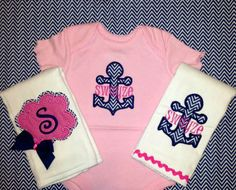 Nautical Baby Gift Set - Anchor Creeper and Burp Cloths on Etsy, $40.00