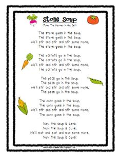 Albanese's Kindergarten Class Stone Soup Song and veggie cards Preschool Cooking, Preschool Music, Preschool Lessons, Preschool Classroom, April Preschool, Preschool Garden, Book Activities, Preschool Activities, Preschool Projects
