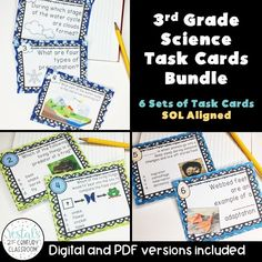 3rd Grade Science Task Cards includes 6 sets of task cards to help students review science skills. PDF and digital task cards are included.  #vestals21stcenturyclassroom #science #teachingscience #sciencetaskcards #3rdgradescience #sciencereview #scienceactivities