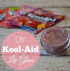 **DIY Kool-Aid Lip Gloss** This is SO FUN! Plus this is SUPER EASY to make! (inexpensive too). Prefect idea for a Girls Slumber Party or a fun Homemade Beauty Gift. So many flavors to choose from. I love the Cherry! #DIYBeauty #homemadebeauty