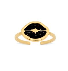 'Punk Kiss' midi ring with charm: a thin band midi ring with signature 'Kiss stamp' enamelled charm in black. Opened at the back for adjustable sizing.