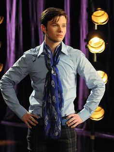 """Kurt Hummel in my scarf. I would pretty much wear the whole outfit AND sing """"Rose's Turn"""". Duet?"""