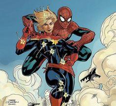 Spider-Man and Captain Marvel - Secretly a Perfect Match Marvel Women, Marvel Heroes, Marvel Universe, Comic Books Art, Comic Art, Book Art, Marvel 616, Spiderman, Avengers