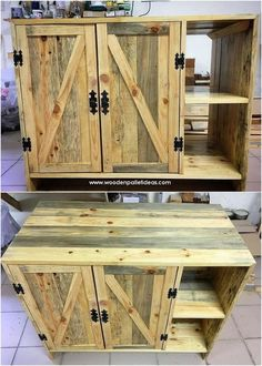 20 Cool Pallet Cabinets and Wall Decoration Ideas - - Pallet Furniture - Woodworking Furniture, Pallet Furniture, Furniture Projects, Cheap Furniture, Outdoor Furniture, Woodworking Jointer, Furniture Online, Furniture Outlet, Furniture Companies