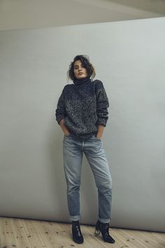 cozy chic winter turtleneck and jeans combo