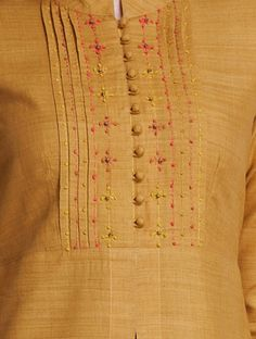 Mustard Mandarin Collar Thread Embroidered Matka Silk Kurta Salwar Neck Designs, Churidar Designs, Neck Designs For Suits, Kurta Neck Design, Neckline Designs, Kurta Designs Women, Dress Neck Designs, Sleeve Designs, Salwar Pattern