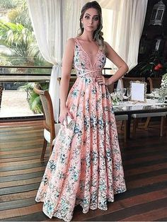 Beautiful Prom Dresses A-line Straps Lace Long Chic Pink Prom Dress JKL859
