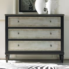 Two Tone Aluminum Wrap & Black 3 Drawer Chest.