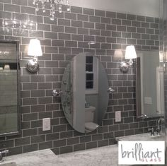 $9.95 a Square Foot Ocean Gray 3x6 Glass Tile from The Builder Depot. But it is not just about having the glass or the best price. We also stock the trims to match to our customers can complete the job. #Glass3x6