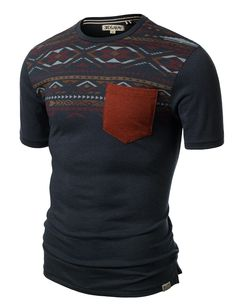 Jtomson - Freedom of Fashion - Mens Trendy Aztec Print Short Sleeve T Shirt With Single Pocket