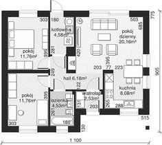Projekt Dom przy Bukowej 18 65 m2 - koszt budowy - EXTRADOM Modern Bungalow, House Plans, Floor Plans, House Design, Cabin, Houses, Dinner, Blueprints For Homes, Homes