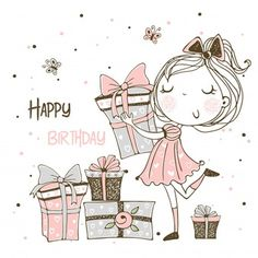 Birthday Wishes Cards, Happy Birthday Messages, Happy Birthday Images, Happy Birthday Greetings, Birthday Pictures, Happy Birthday Drawings, Happy Birthday Girls, Art Drawings For Kids, Cute Drawings