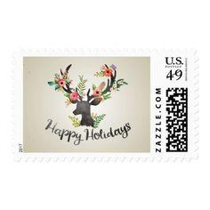 Flower Deer Watercolor Happy Holidays Postage