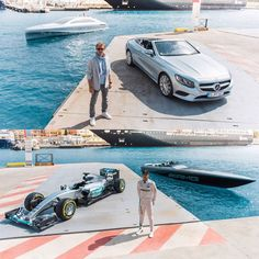 The two drivers from the MERCEDES AMG PETRONAS Formula 1 Team Nico Rosberg and Lewis Hamilton met during the run-up to the Monaco Grand Prix on 29 May 2016 for a sensational event off the racetrack.  Rosberg showed what a relaxed lifestyle cruising off the coast of Monaco looks like on the Mercedes-Benz Style luxury motor yacht while Hamilton put his driving ability to the test on the water with the Cigarette Racing 50 Marauder AMG Monaco Concept. #MercedesAMG #Mercedes #AMG…