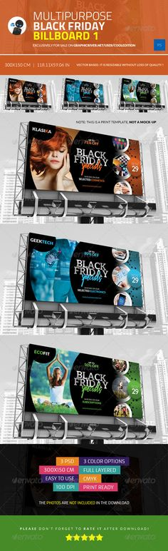 Multipurpose Black Friday Billboard 1 — Photoshop PSD #technology #psd • Available here → https://graphicriver.net/item/multipurpose-black-friday-billboard-1/6035576?ref=pxcr