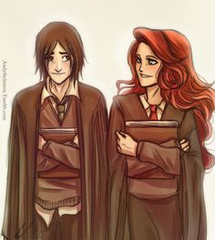 Snape and Lily as friends. by andythelemon
