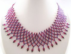 Seadbeady Burgundy Red Netting Necklace with by Seadbeady on Etsy