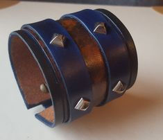 Blue Leather bracelet with studs spikes Mens Bracelet
