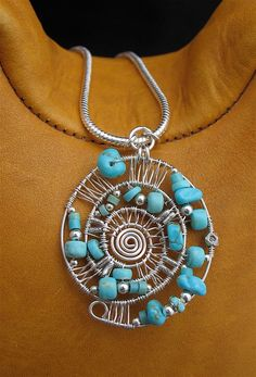 Blue Number 8 Turquoise Wire Wrapped Pendant Necklace, Sterling Silver