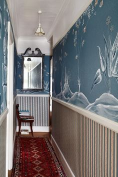 Narrow Victorian Hallway with Blue hand painted Chinese Mural Decorating Ideas…