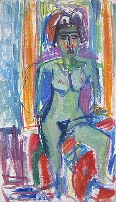 Albert Mueller (1884-1963) In stijl, kleurgebruik, de daaraan ten grondslag liggende kleuropvattingen en het gebruik van was/olieverf, zijn overeenkomsten te herkennen met schilderijen van kunstenaars als Jan Wiegers, Jan Altink en Johan Dijkstra. Over het algemeen neemt het werk van Müller en Scherer een positie in tussen het nerveuze expressionisme van Kirchner uit de periode 1911-1919 en het soms rauwe, maar levensblije expressionisme van De Ploeg.