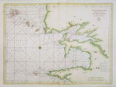 """""""Cinquième Carte Particulière des Costes de Bretagne Contenant les Environs de la Rade de Brest"""", 1764. Large-scale sea chart covering the coast of  Brest and the Iroise, between Raz de Sein and Raz de Saint-Mathieu.   Brittany"""