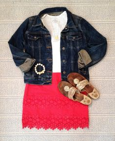 pink skirt with scallop over lay, white shirt, jean jacket and Jacks
