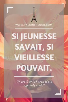french beautiful quotes If youth only knew; if old age only could. Follow Talk in French for more