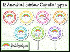 Rainbow Cupcake Toppers Rain bow Baby shower Decorations